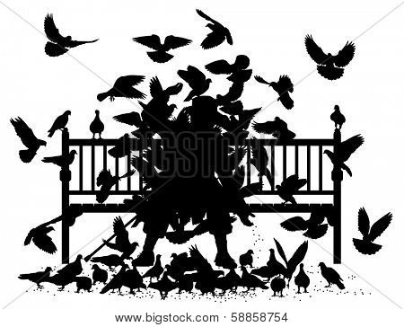 Editable vector silhouettes of a man on a bench smothered by pigeons with all birds as separate objects