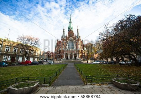 KRAKOW, POLAND - OCT 19: Church Joseph - a historic Roman Catholic church in south-central part of Krakow, Oct 19, 2013 in Krakow, Poland. Was built 1905-1909 y and designed by Jana Sas-Zubrzyckiego.