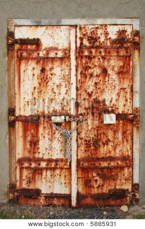 Old Rusted Doors Padlocked Close