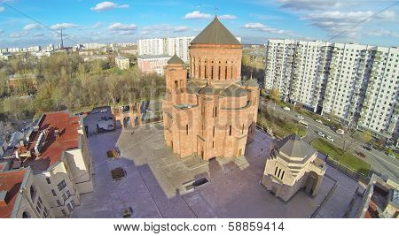 Cathedral Armenian church Surb Khach in Moscow, Russia. View from unmanned quadrocopter