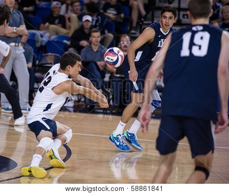 IRVINE, CA - JANUARY 17: Brigham Young University's Jalen Reyes gets the dig in a volleyball match with the University of California - Irvine at the Bren Center in Irvine, CA on January 17, 2014