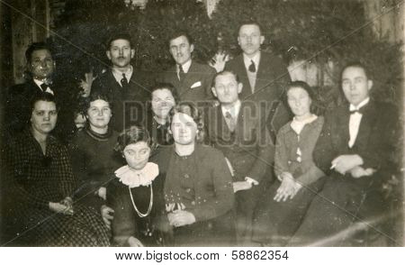 BIELSKO, POLAND, CIRCA 1940s: Vintage photo of group of multigenerational family
