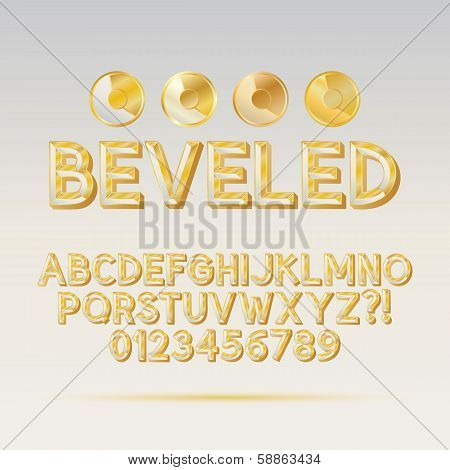 Gold Beveled Outline Font And Digit, Eps 10 Vector, Editable For Any Background