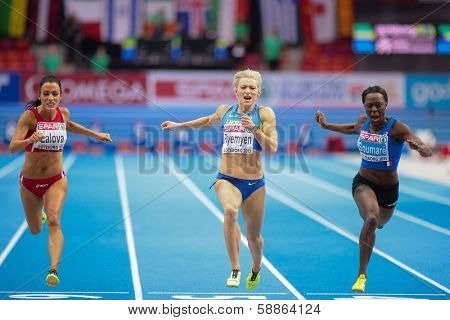 GOTHENBURG, SWEDEN - MARCH 3 Mariya Ryemyen (Bulgaria) places seond in the women's 60m finals during the European Athletics Indoor Championship on March 3, 2013 in Gothenburg, Sweden.