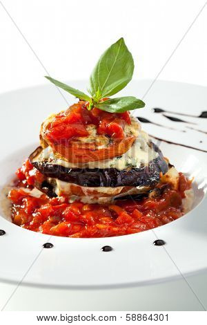 Baked Eggplant with Tomato under Cheese
