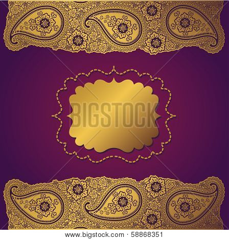 Vintage Paisley Strip Lace.design Template