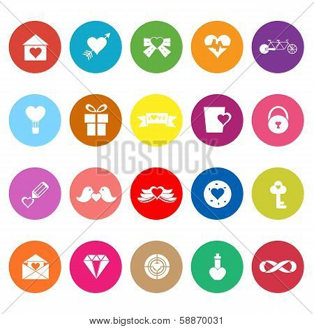 Love And Heart Flat Icons On White Background