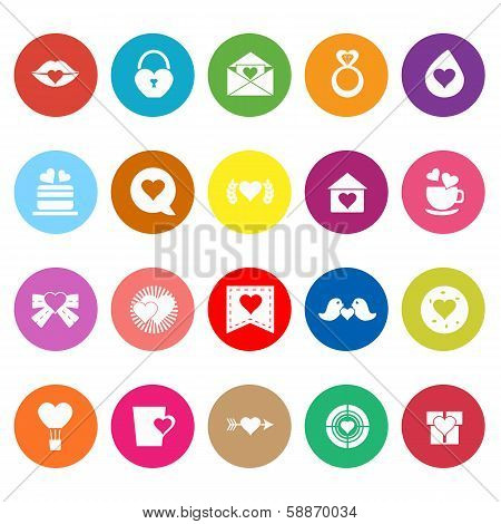 Heart Element Flat Icons On White Background