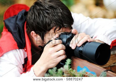 Professional photographer on assignment