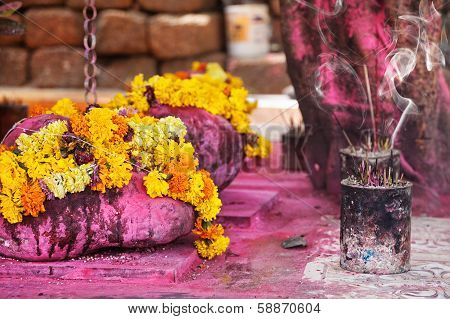 Flower Garlands And Incense