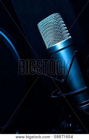 Condenser Microphone In Recording Studio