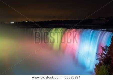 Colorful Niagara Falls at Night Time