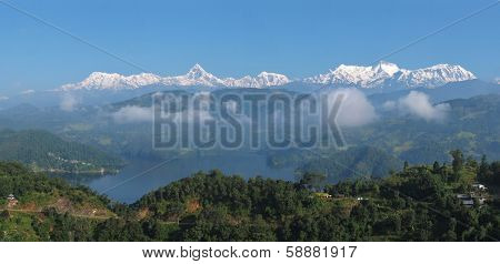Lake Begnas Tal and snow capped Annapurna Range