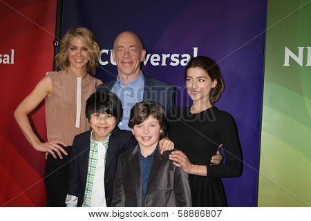 PALM SPRINGS - JAN 19:  Jenna Elfman, JK Simmons, Ava Deluca-Verley, Lance Lim, Eli Baker at the NBC TCA 2014 Winter Press Tour at The Langham Huntington Hotel on January 19, 2014 in Pasadena, CA