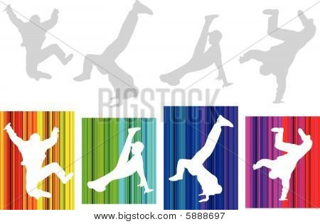 Vector hip-hop silhouette on abstract background