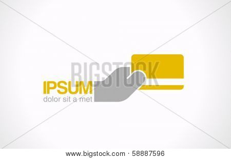 Payment service vector logo design template. Hand with credit card makes payment. Easy Pay concept icon. Virtual Electronic money symbol.