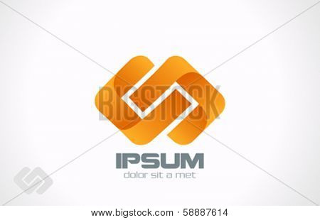 Abstract looped Rhombus Ribbon vector logo design template. Infinity shape loop. Creative Business innovation concept icon.