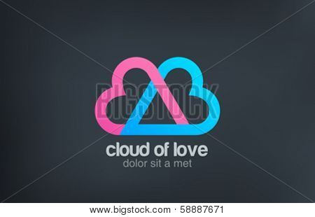 Heart locked - cloud of love vector logo design template. Man and woman union - Wedding. Love technology service heps to find your love. Couple married concept icon. Happy Valentines day!