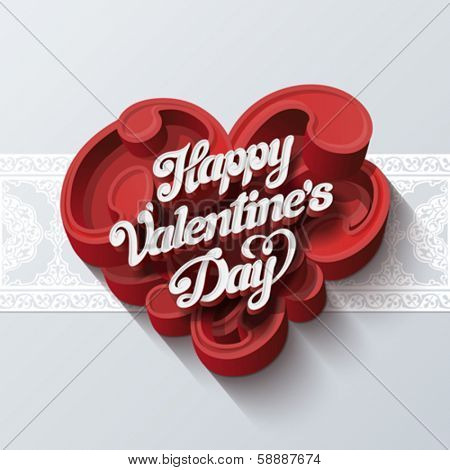 Valentines day greeting card vector design template. Vintage lettering on heart shape of swirls. Retro handwriting typography with seamless border. Tender Love creative concept. Copyspace for logo.