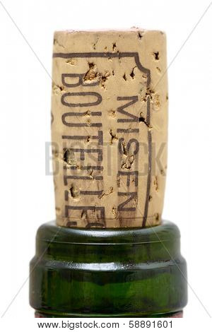 Bottle of wine cork on white background