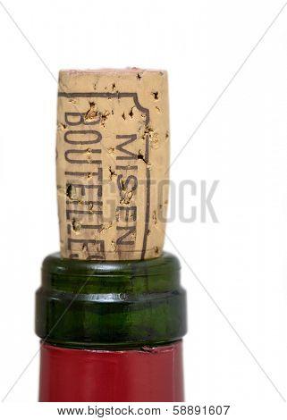 Bottle of wine cork on white background