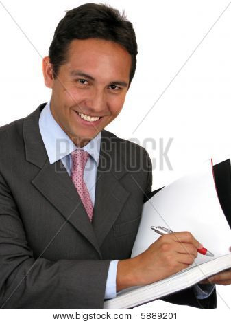 Man Writing Over White Background
