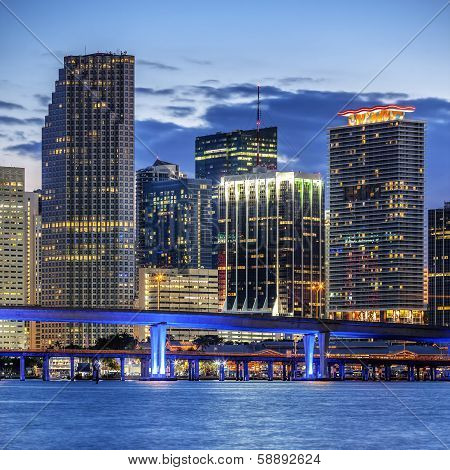 City Of Miami Florida, Illuminated Business And Residential Buildings