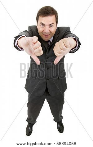Young businessman showing disapproval, full length, isolated