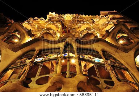 BARCELONA, SPAIN - SEPTEMBER 10: Casa Battlo at night on September 10, 2012 in Barcelona, Spain. The famous building was designed by Antoni Gaudi