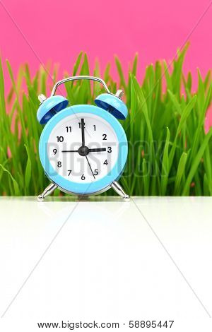 Clock with grass and pink background, puberty concept