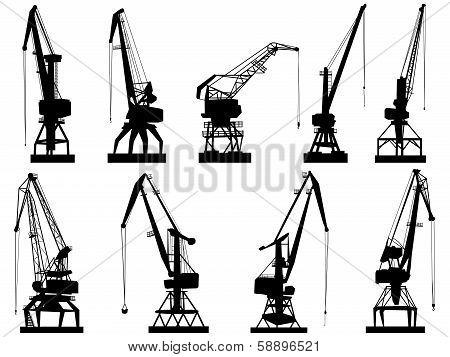 Vector Silhouettes Of Cargo Crane Tower.