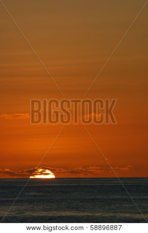 Amber tropical sunset