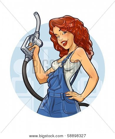 Girl with petrol pump. ?ar service.  Eps10 vector illustration. Isolated on white background
