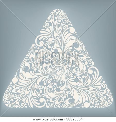 triangle shape with floral ornament, vector illustration