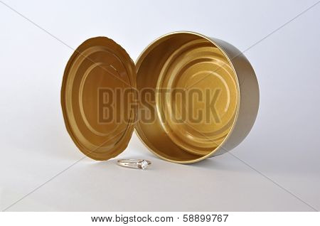 Empty tin can and the ring