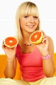 Happy Women With Fruits poster