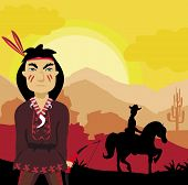 foto of longbow  - angry indian funny and silhouette cowboy  - JPG
