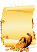 picture of cornucopia  - Blank thanksgiving invitation with cornucopia and vegetables - JPG