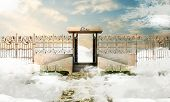 pic of gates heaven  - illustration of heavens gate over white clouds - JPG