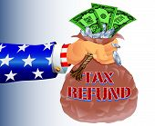 image of uncle  - Vectored Illustration of Uncle Sam Refunding Tax Money - JPG