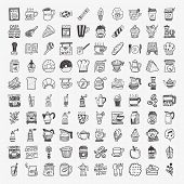 stock photo of pitcher  - 100 doodle coffee element icons set  - JPG