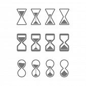 Hourglass, sandglass icons. Vector.