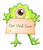 picture of get well soon  - Illustration of a green monster holding a get - JPG