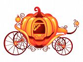 pic of cinderella  - Pumpkin carriage for Cinderella or Halloween isolated over white - JPG