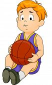 Illustration of a Little Boy in Basketball Gear Wearing a Sad Expression on His Face