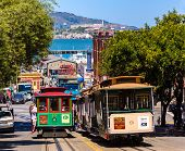 SAN FRANCISCO - APRIL 20, 2031: Cable car of Powell Hyde line, cable-car since 1873 are the world's