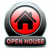 stock photo of house rent  - Open house sign banner or placard for renting or buying a new home visit a real estate property model house - JPG