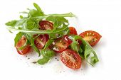 stock photo of plum tomato  - Cherry tomatoes and arugula - JPG