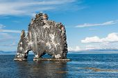 stock photo of troll  - Hvitserkur is a spectacular rock in the sea on the Northern coast of Iceland - JPG