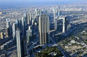 stock photo of emirates  - Aerial view of Dubai downtown with modern skyscrapers - JPG